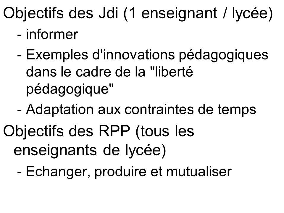 Objectifs des Jdi (1 enseignant / lycée) -informer -Exemples d innovations pédagogiques dans le cadre de la liberté pédagogique -Adaptation aux contraintes de temps Objectifs des RPP (tous les enseignants de lycée) - Echanger, produire et mutualiser