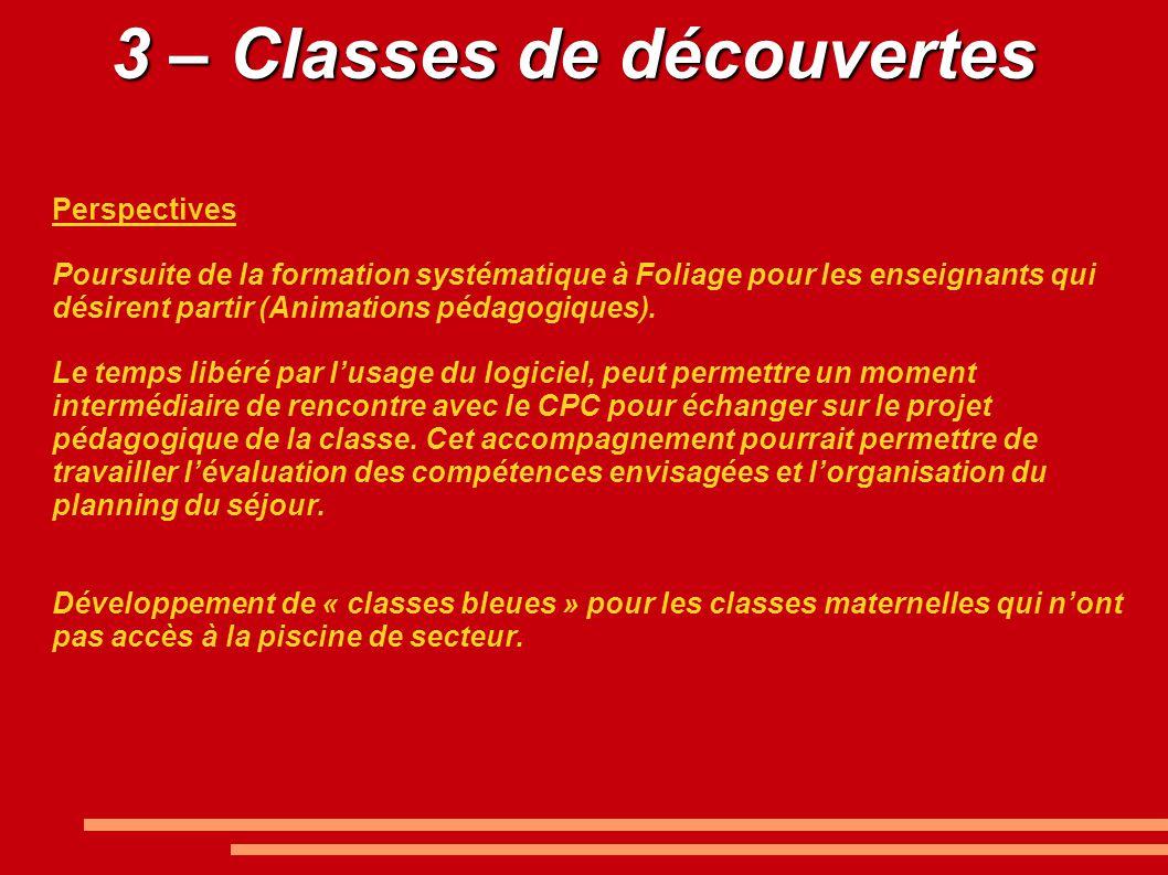 3 – Classes de découvertes Perspectives Poursuite de la formation systématique à Foliage pour les enseignants qui désirent partir (Animations pédagogiques).