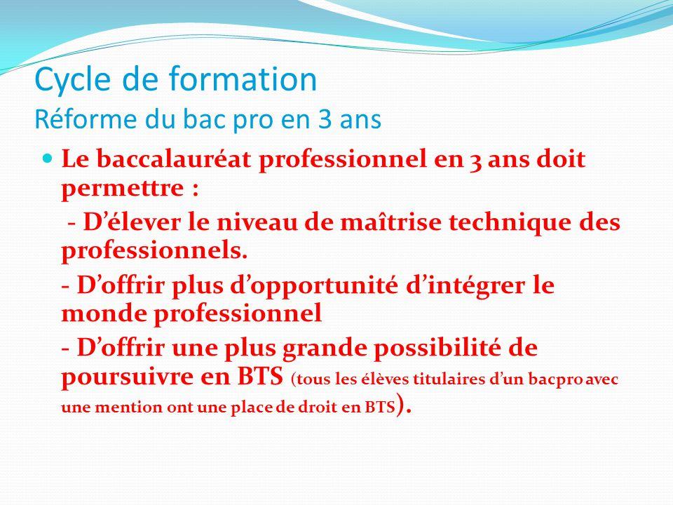 Cycle de formation Réforme du bac pro en 3 ans Le baccalauréat professionnel en 3 ans doit permettre : - D'élever le niveau de maîtrise technique des professionnels.