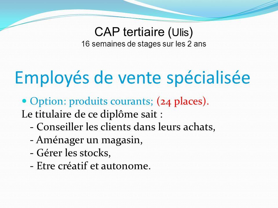 Employés de vente spécialisée Option: produits courants; (24 places).