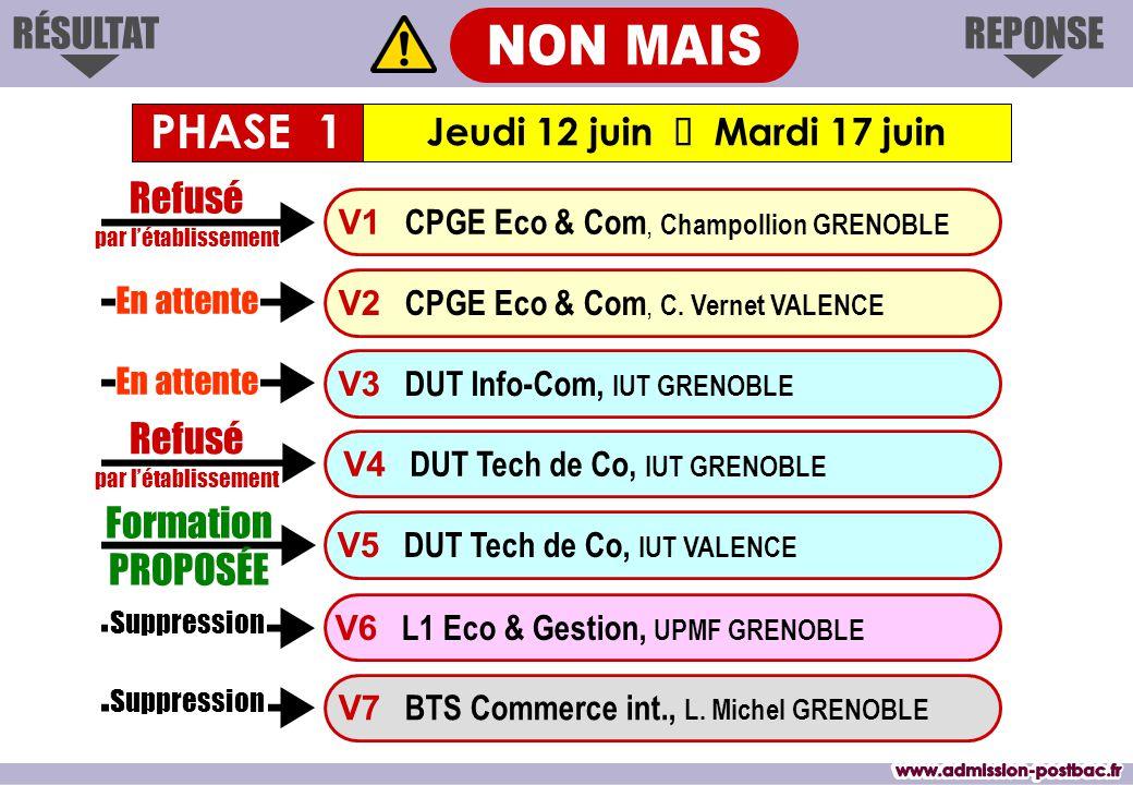 REPONSERÉSULTAT Formation PROPOSÉE V1 CPGE Eco & Com, Champollion GRENOBLE V3 DUT Info-Com, IUT GRENOBLE V4 DUT Tech de Co, IUT GRENOBLE V7 BTS Commerce int., L.