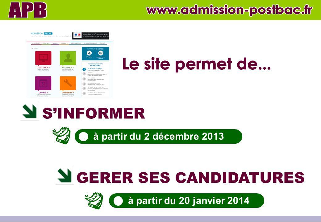 S'INFORMER GERER SES CANDIDATURES à partir du 2 décembre 2013 à partir du 20 janvier 2014