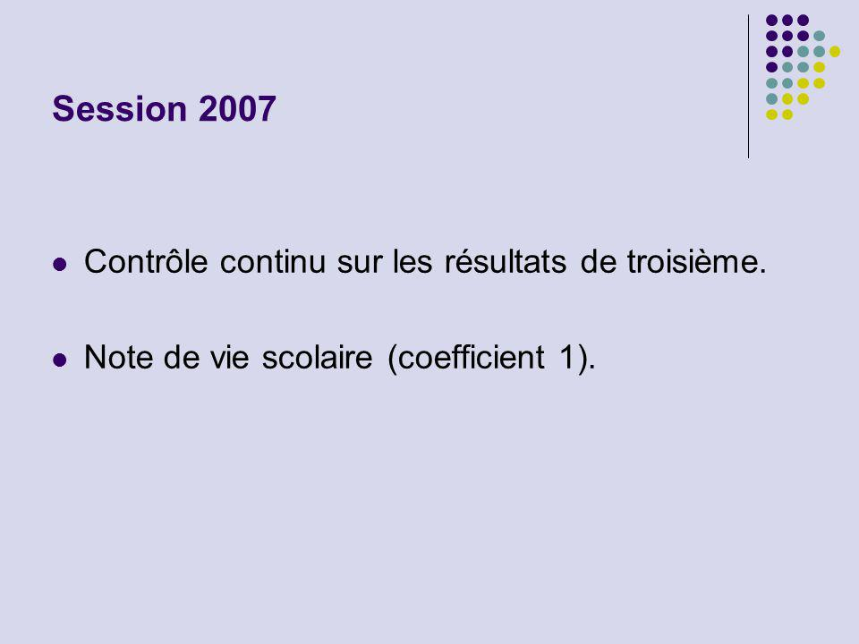 Session 2007 Contrôle continu sur les résultats de troisième. Note de vie scolaire (coefficient 1).