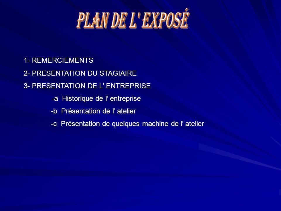 1- REMERCIEMENTS 2- PRESENTATION DU STAGIAIRE 3- PRESENTATION DE L' ENTREPRISE -a Historique de l' entreprise -b Présentation de l' atelier -c Présent