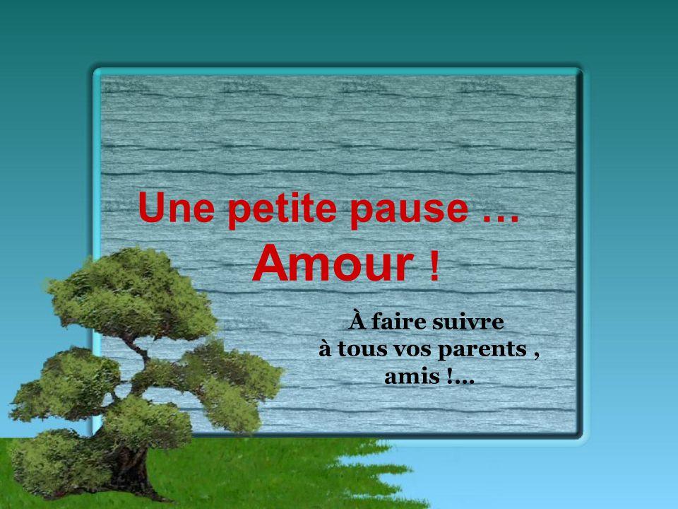 Une petite pause … Amour ! À faire suivre à tous vos parents, amis !…