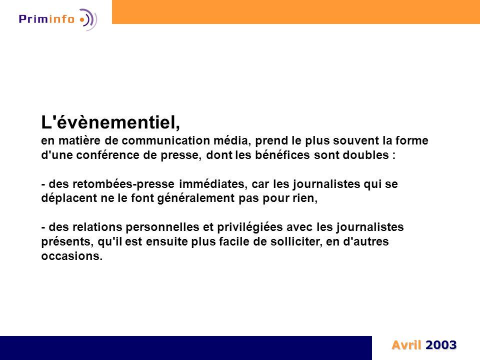 L'évènementiel, en matière de communication média, prend le plus souvent la forme d'une conférence de presse, dont les bénéfices sont doubles : - des