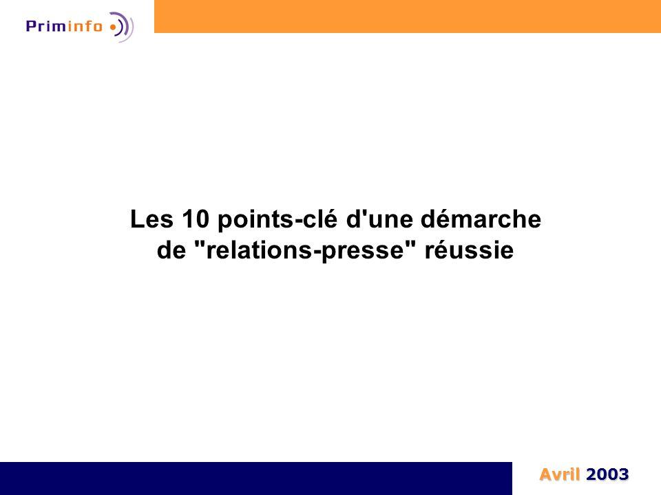 Les 10 points-clé d une démarche de relations-presse réussie Avril 2003