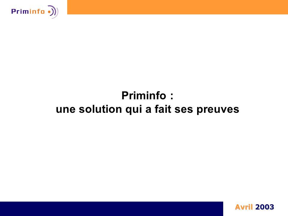 Priminfo : une solution qui a fait ses preuves Avril 2003