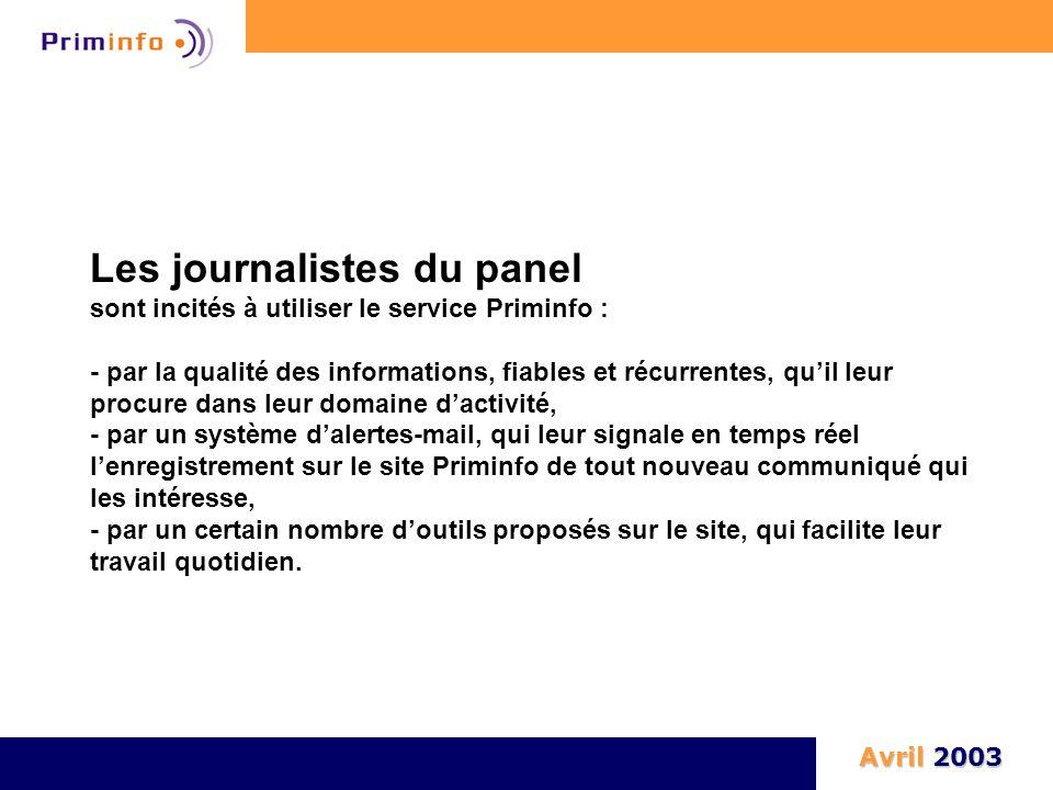 Les journalistes du panel sont incités à utiliser le service Priminfo : - par la qualité des informations, fiables et récurrentes, qu'il leur procure