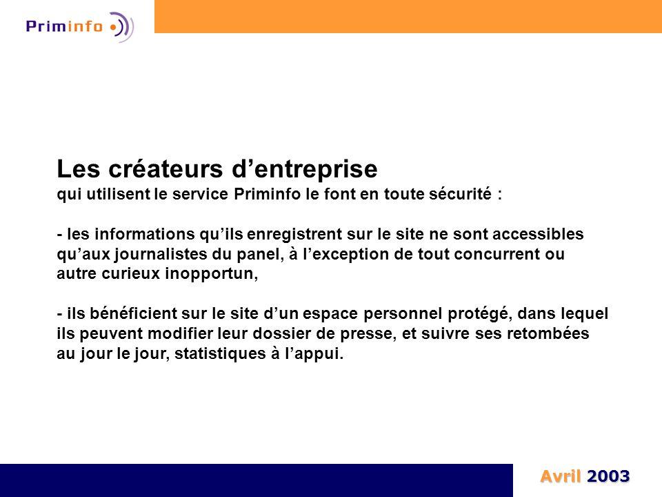 Les créateurs d'entreprise qui utilisent le service Priminfo le font en toute sécurité : - les informations qu'ils enregistrent sur le site ne sont ac