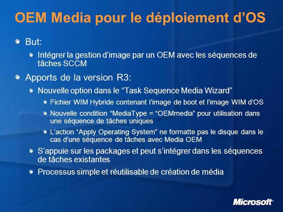 OEM Media pour le déploiement d'OS But: Intégrer la gestion d'image par un OEM avec les séquences de tâches SCCM Apports de la version R3: Nouvelle op