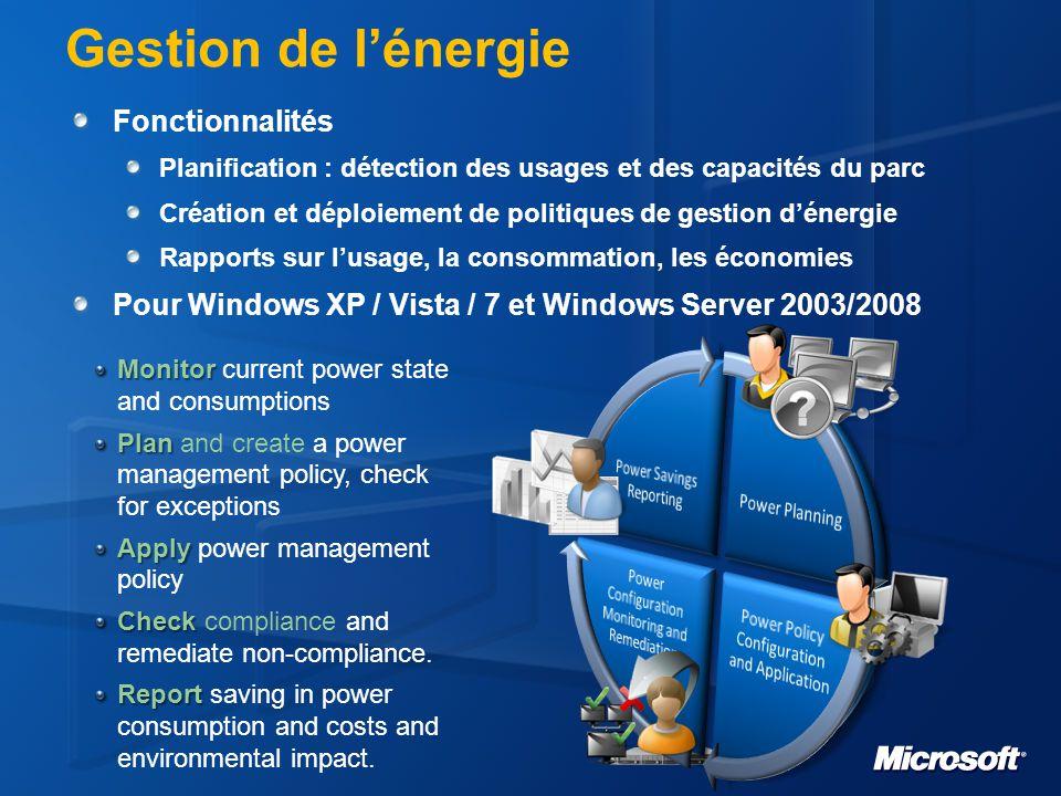 Gestion de l'énergie Fonctionnalités Planification : détection des usages et des capacités du parc Création et déploiement de politiques de gestion d'