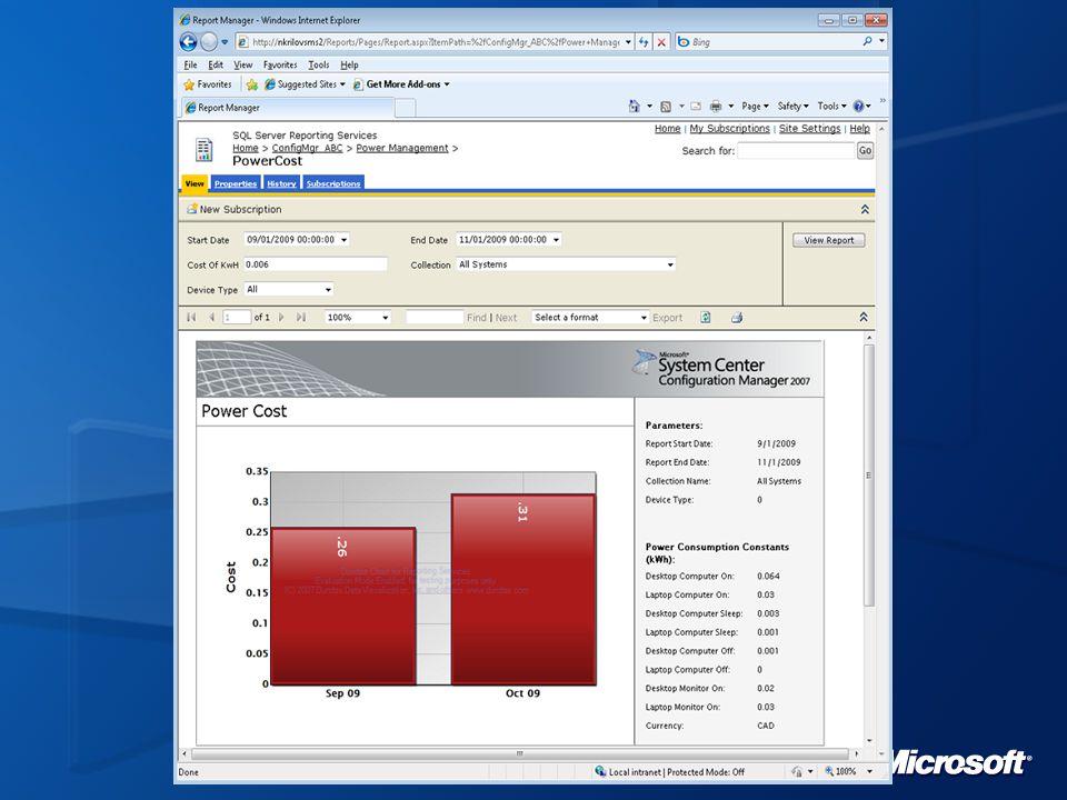 Dashboard SCCM Dashboard intégré aux technologies SharePoint, pour afficher des données liées à SCCM sur une période donnée Déploiements d'OS, applications et mises à jour, licences, conformité, …) Affichage flexible pour les utilisateurs, avec des filtres Contenu configurable par les administrateurs Ajouts de Web Parts dans des sites et portails existants Création/personnalisation de Web Parts Choix du format visuel (tableau, graphique, jauge) Extensible Délégation par rôles basée sur SharePoint Téléchargement disponible sur http://www.microsoft.com/downloads/details.aspx?displaylang=en&FamilyID=27fe0d80-38c6-464a-953a-1c2edcf35c2d http://www.microsoft.com/downloads/details.aspx?displaylang=en&FamilyID=27fe0d80-38c6-464a-953a-1c2edcf35c2d