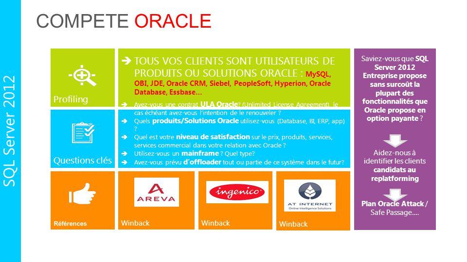COMPETE ORACLE Profiling Questions clés  TOUS VOS CLIENTS SONT UTILISATEURS DE PRODUITS OU SOLUTIONS ORACLE : MySQL, OBI, JDE, Oracle CRM, Siebel, Pe