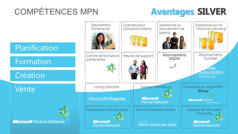 COMPÉTENCES MPN Avantages SILVER Planification Formation Création Vente Newsletters Partenaires Licenses pour utilisation interne Assistance au recrutement de talents Assistance sur le Volume Licensing Listing SolutionSupport MarketingUtilisation du Logo MPN Silver Demo Showcase OnlineRessources (Kits de vente)Support de Microsoft Financing Centre de formation partenaires Heures de support AbonnementsMSDN Abonnements TechNet