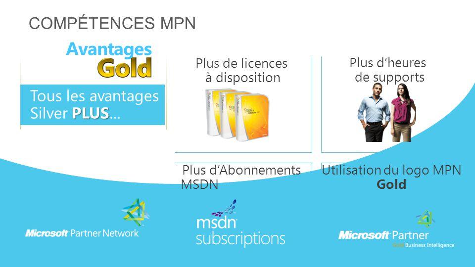 COMPÉTENCES MPN Plus de licences à disposition Plus d'heures de supports Avantages PLUS Tous les avantages Silver PLUS… Plus d'Abonnements MSDN Utilis