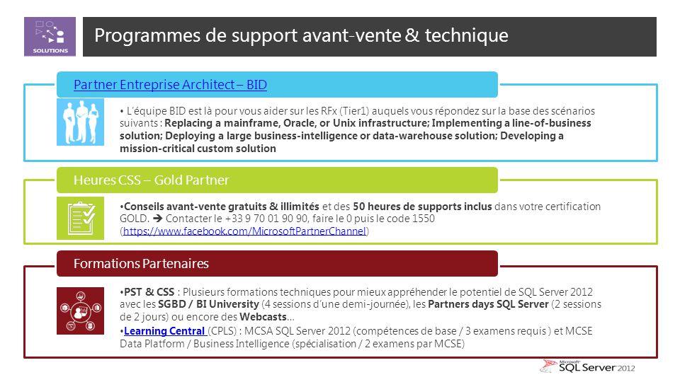 Programmes de support avant-vente & technique L'équipe BID est là pour vous aider sur les RFx (Tier1) auquels vous répondez sur la base des scénarios