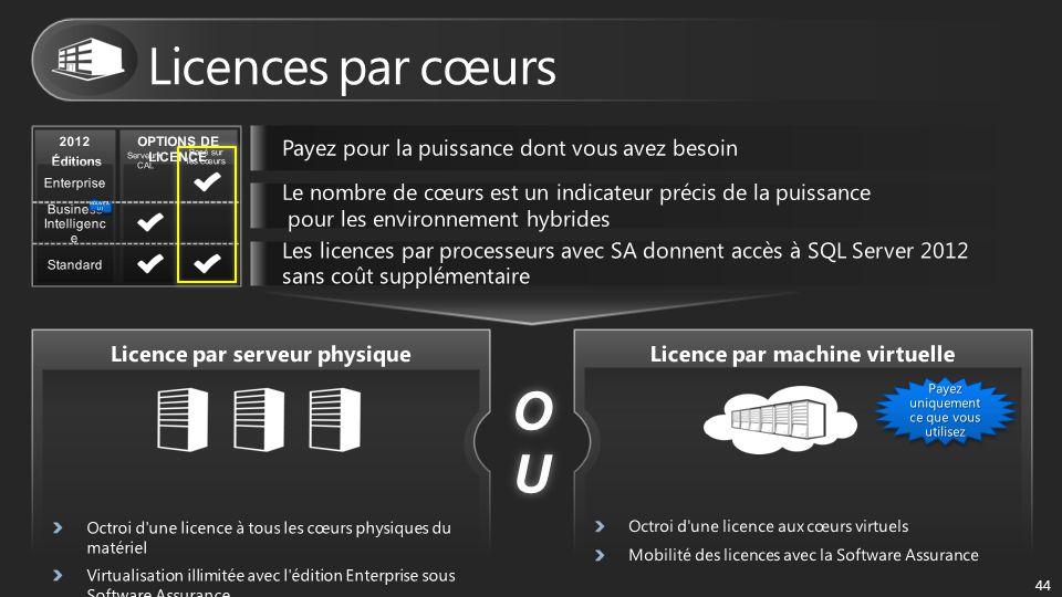 OUOUOUOU 44 2012 Éditions OPTIONS DE LICENCE Basé sur les cœurs Serveur+ CAL