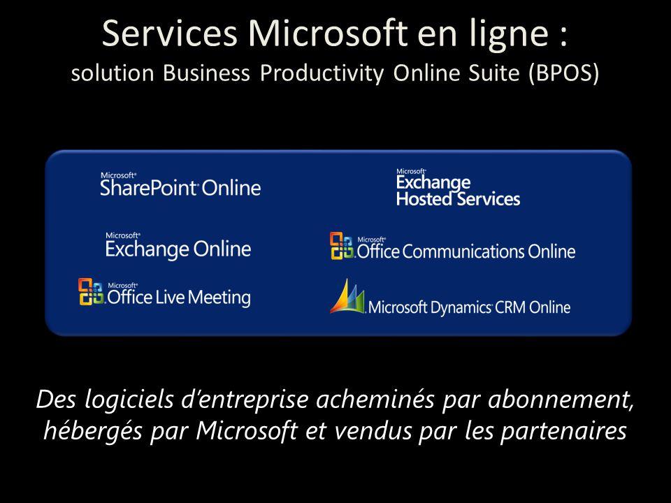 Des logiciels d'entreprise acheminés par abonnement, hébergés par Microsoft et vendus par les partenaires Services Microsoft en ligne : solution Business Productivity Online Suite (BPOS)