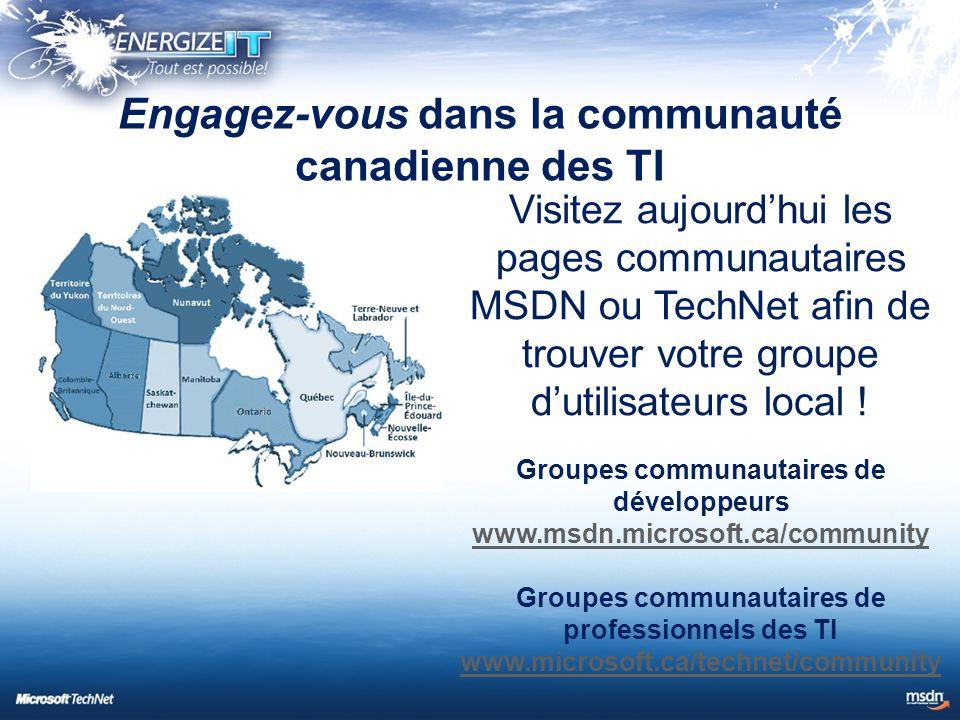 Visitez aujourd'hui les pages communautaires MSDN ou TechNet afin de trouver votre groupe d'utilisateurs local .