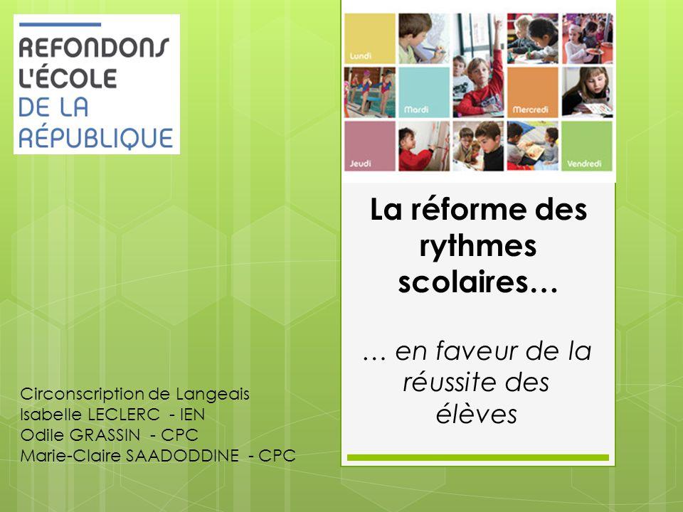 La réforme des rythmes scolaires… … en faveur de la réussite des élèves Circonscription de Langeais Isabelle LECLERC - IEN Odile GRASSIN - CPC Marie-C