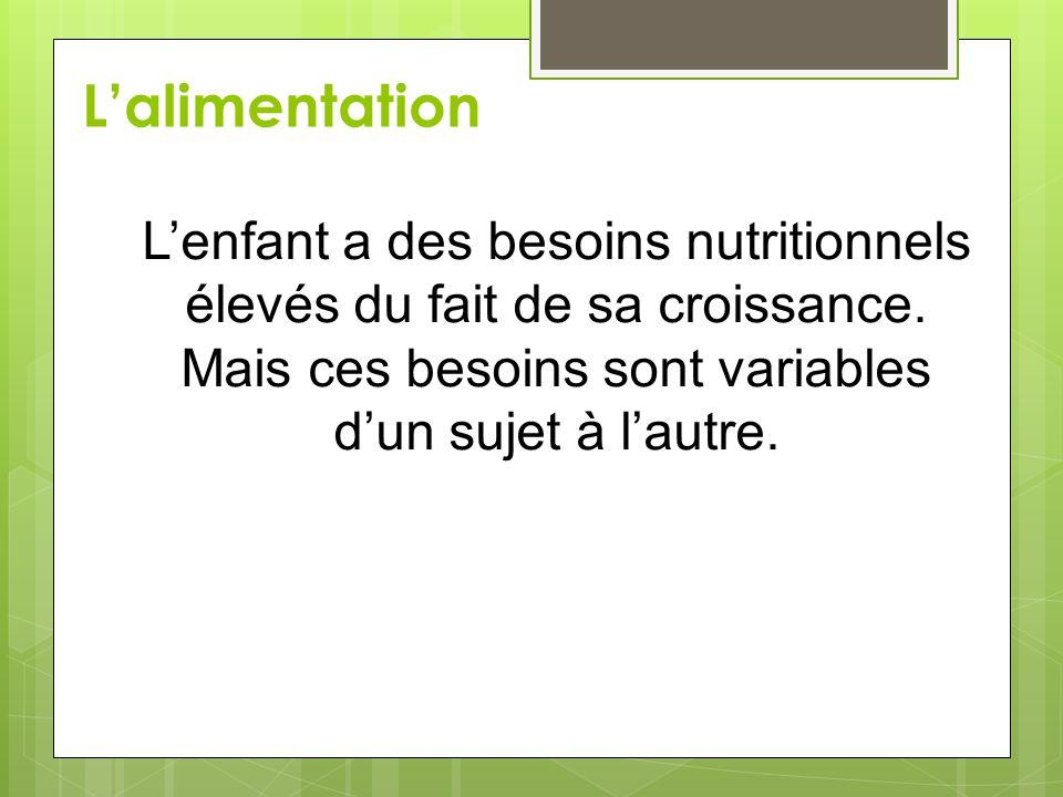 L'alimentation L'enfant a des besoins nutritionnels élevés du fait de sa croissance. Mais ces besoins sont variables d'un sujet à l'autre.
