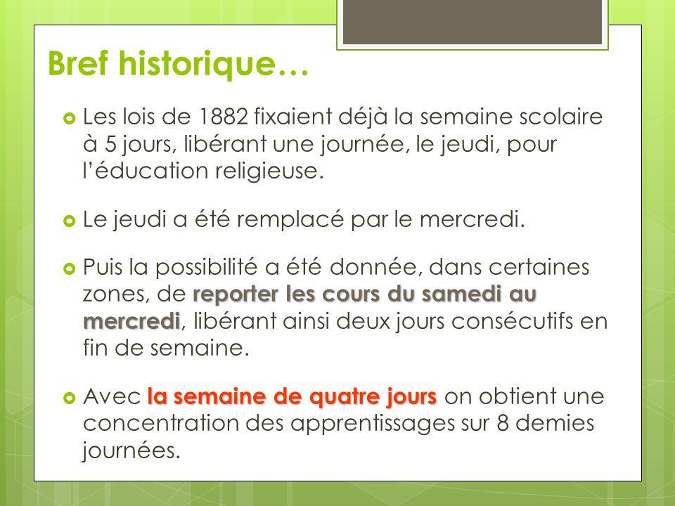 Bref historique…  Les lois de 1882 fixaient déjà la semaine scolaire à 5 jours, libérant une journée, le jeudi, pour l'éducation religieuse.  Le jeu