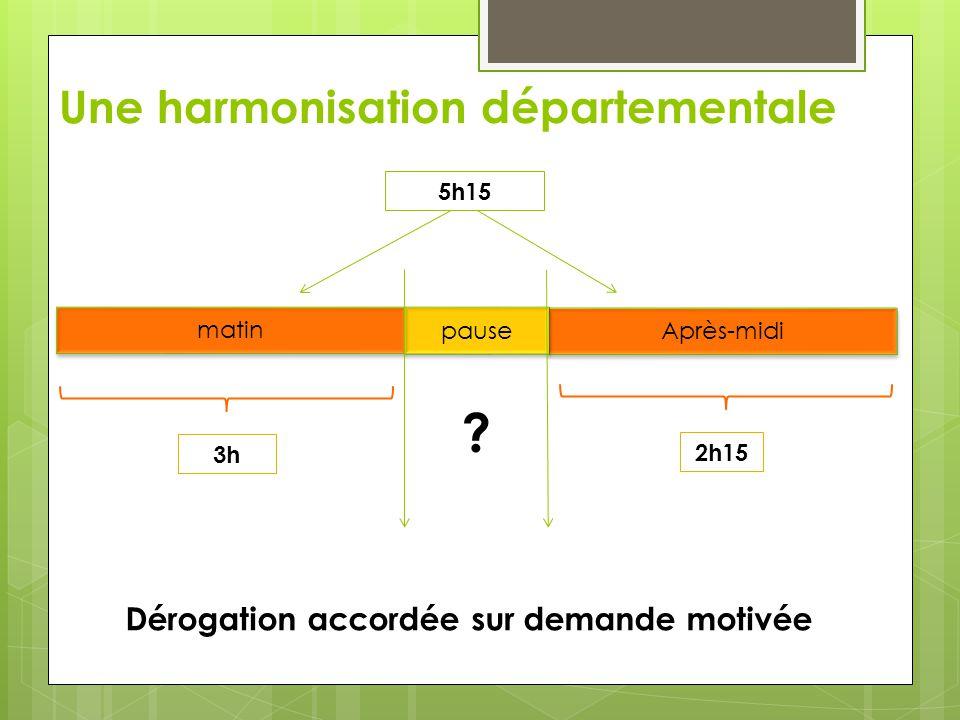 Une harmonisation départementale 5h15 matin Après-midi pause 3h 2h15 ? Dérogation accordée sur demande motivée