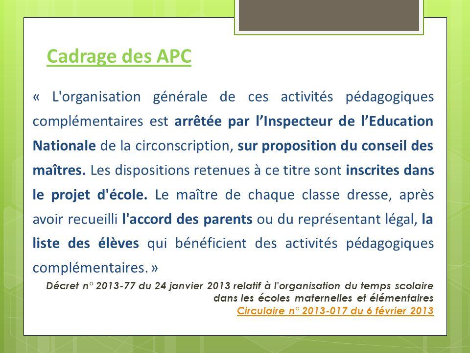 Cadrage des APC « L'organisation générale de ces activités pédagogiques complémentaires est arrêtée par l'Inspecteur de l'Education Nationale de la ci