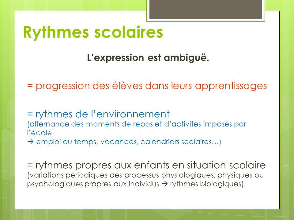 Rythmes scolaires L'expression est ambiguë. = progression des élèves dans leurs apprentissages = rythmes de l'environnement (alternance des moments de