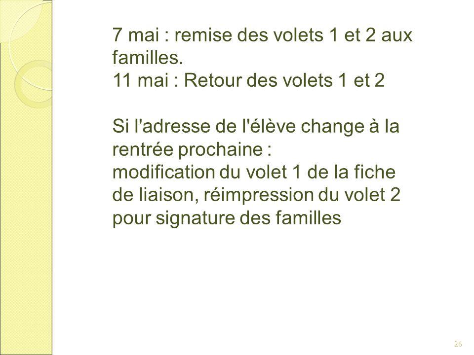 26 7 mai : remise des volets 1 et 2 aux familles.