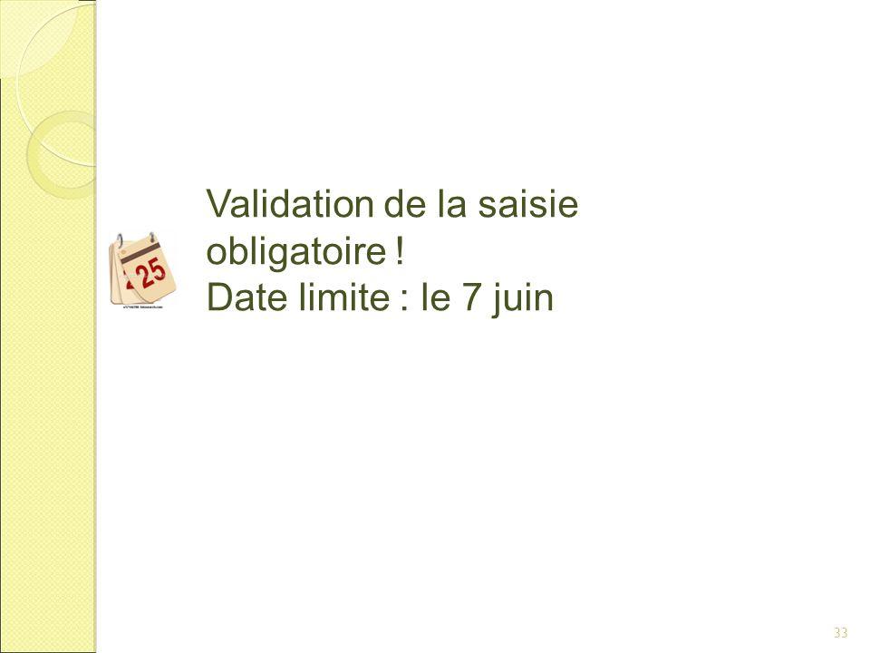 33 Validation de la saisie obligatoire ! Date limite : le 7 juin