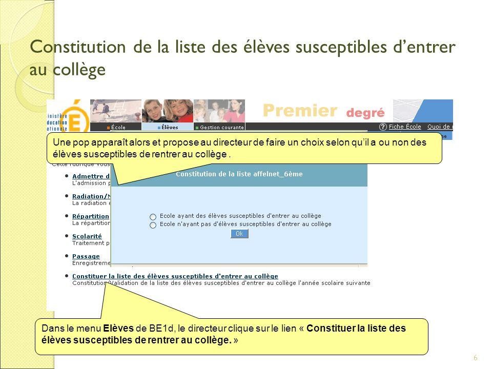 6 Constitution de la liste des élèves susceptibles d'entrer au collège Dans le menu Elèves de BE1d, le directeur clique sur le lien « Constituer la liste des élèves susceptibles de rentrer au collège.