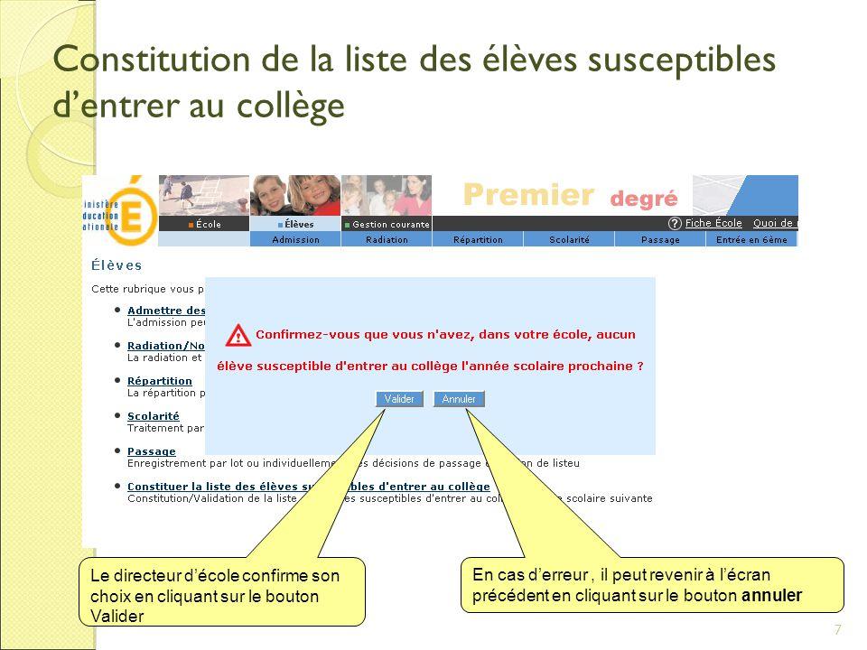 7 Constitution de la liste des élèves susceptibles d'entrer au collège Le directeur d'école confirme son choix en cliquant sur le bouton Valider En cas d'erreur, il peut revenir à l'écran précédent en cliquant sur le bouton annuler
