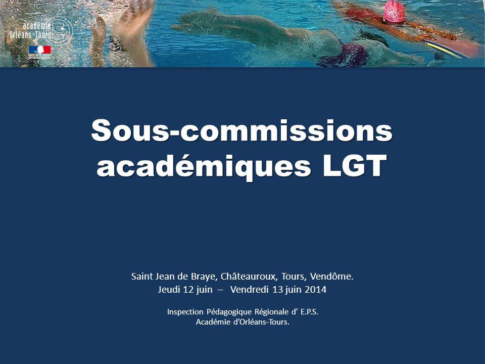 Sous-commissions académiques LGT Saint Jean de Braye, Châteauroux, Tours, Vendôme. Jeudi 12 juin – Vendredi 13 juin 2014 Inspection Pédagogique Région