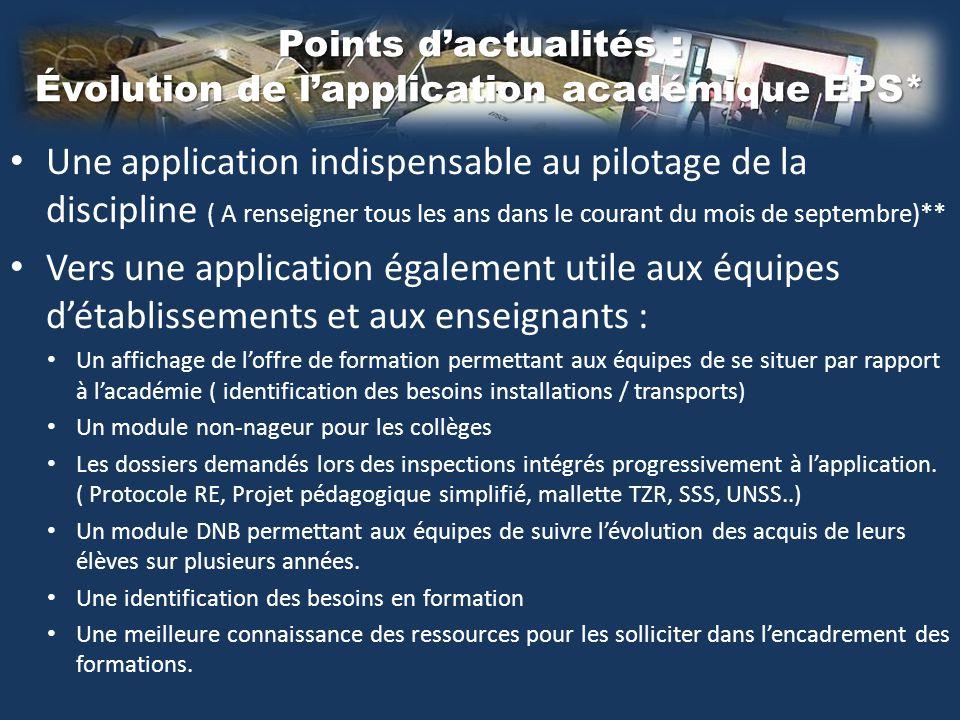 Points d'actualités : Évolution de l'application académique EPS* Une application indispensable au pilotage de la discipline ( A renseigner tous les an