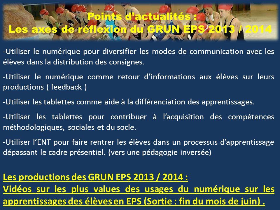 Points d'actualités : Les axes de réflexion du GRUN EPS 2013 / 2014 -Utiliser le numérique pour diversifier les modes de communication avec les élèves dans la distribution des consignes.