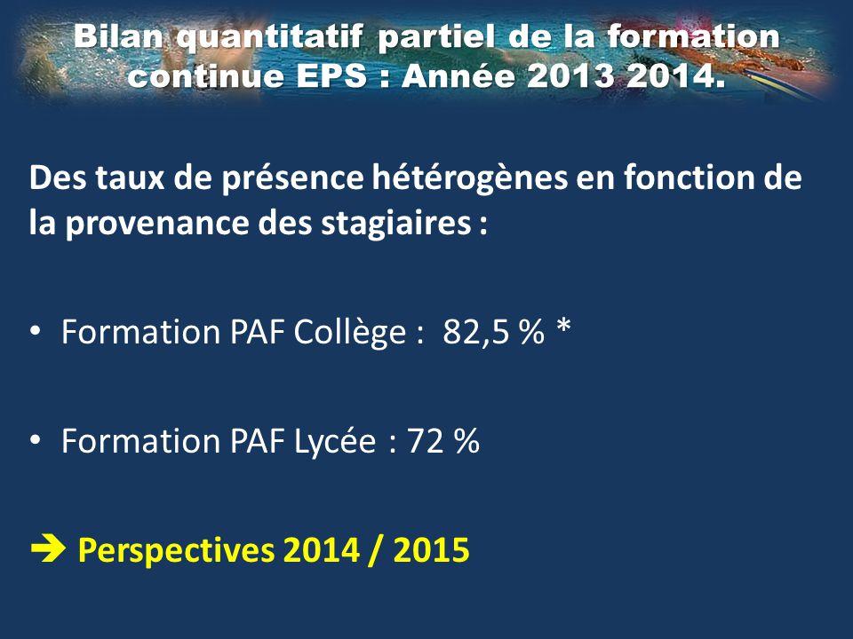 Des taux de présence hétérogènes en fonction de la provenance des stagiaires : Formation PAF Collège : 82,5 % * Formation PAF Lycée : 72 %  Perspecti