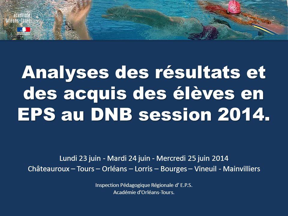 Analyses des résultats et des acquis des élèves en EPS au DNB session 2014.
