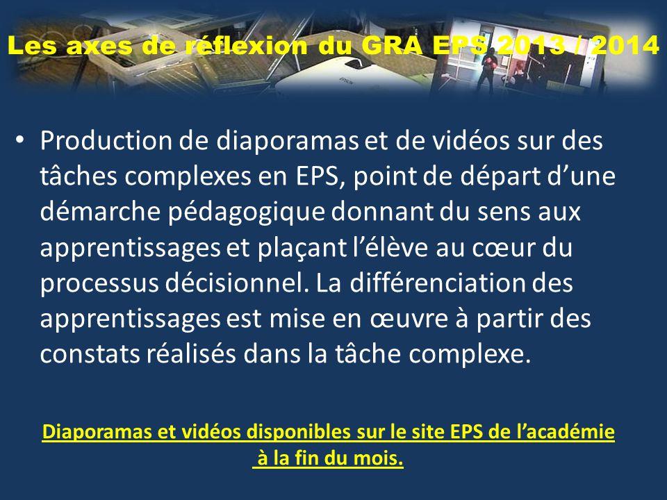 Les axes de réflexion du GRA EPS 2013 / 2014 Production de diaporamas et de vidéos sur des tâches complexes en EPS, point de départ d'une démarche pédagogique donnant du sens aux apprentissages et plaçant l'élève au cœur du processus décisionnel.
