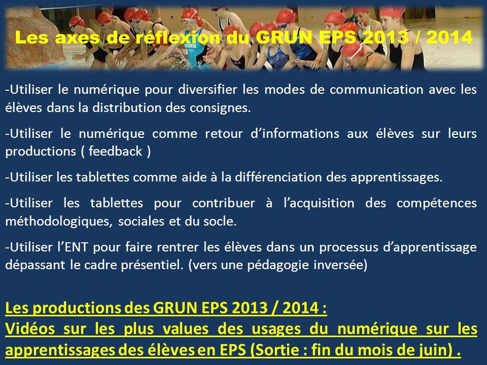 Les axes de réflexion du GRUN EPS 2013 / 2014 -Utiliser le numérique pour diversifier les modes de communication avec les élèves dans la distribution des consignes.