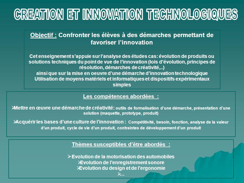 Objectif : Confronter les élèves à des démarches permettant de favoriser l'innovation Cet enseignement s'appuie sur l'analyse des études cas: évolutio