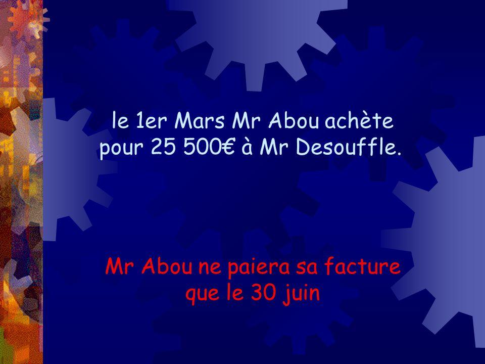 le 1er Mars Mr Abou achète pour 25 500€ à Mr Desouffle. Mr Abou ne paiera sa facture que le 30 juin