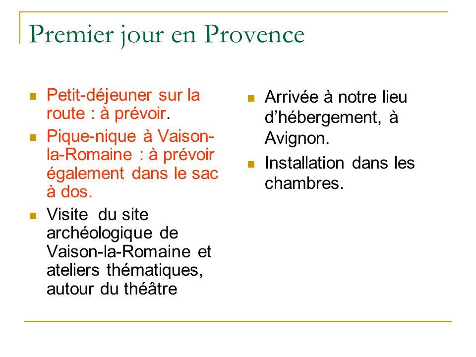 Premier jour en Provence Petit-déjeuner sur la route : à prévoir. Pique-nique à Vaison- la-Romaine : à prévoir également dans le sac à dos. Visite du
