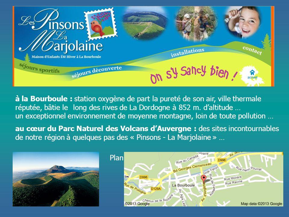 Plan à la Bourboule : station oxygène de part la pureté de son air, ville thermale réputée, bâtie le long des rives de La Dordogne à 852 m. d'altitude