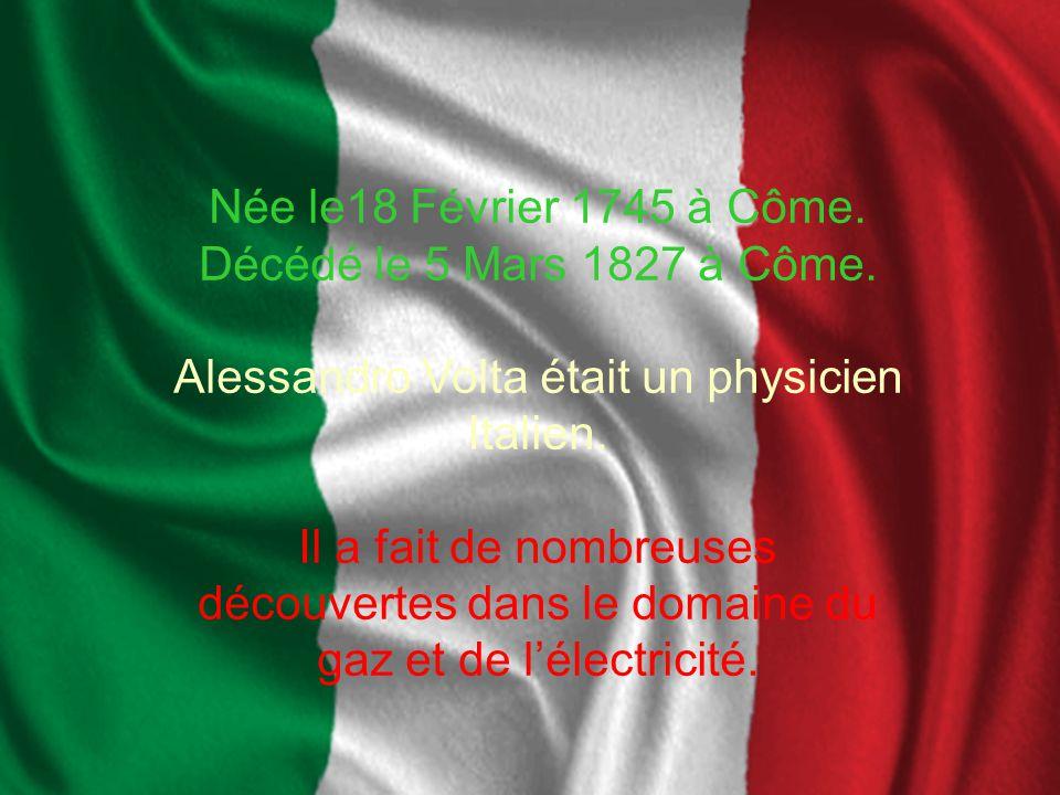 Volta était le correspondant de Antoine Lavoisier depuis le 21 Août 1782.