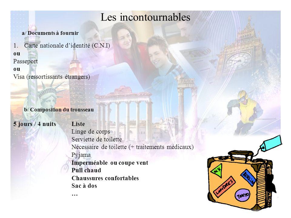 a/ Documents à fournir 1.Carte nationale d'identité (C.N.I) ou Passeport ou Visa (ressortissants étrangers) b/ Composition du trousseau 5 jours / 4 nu