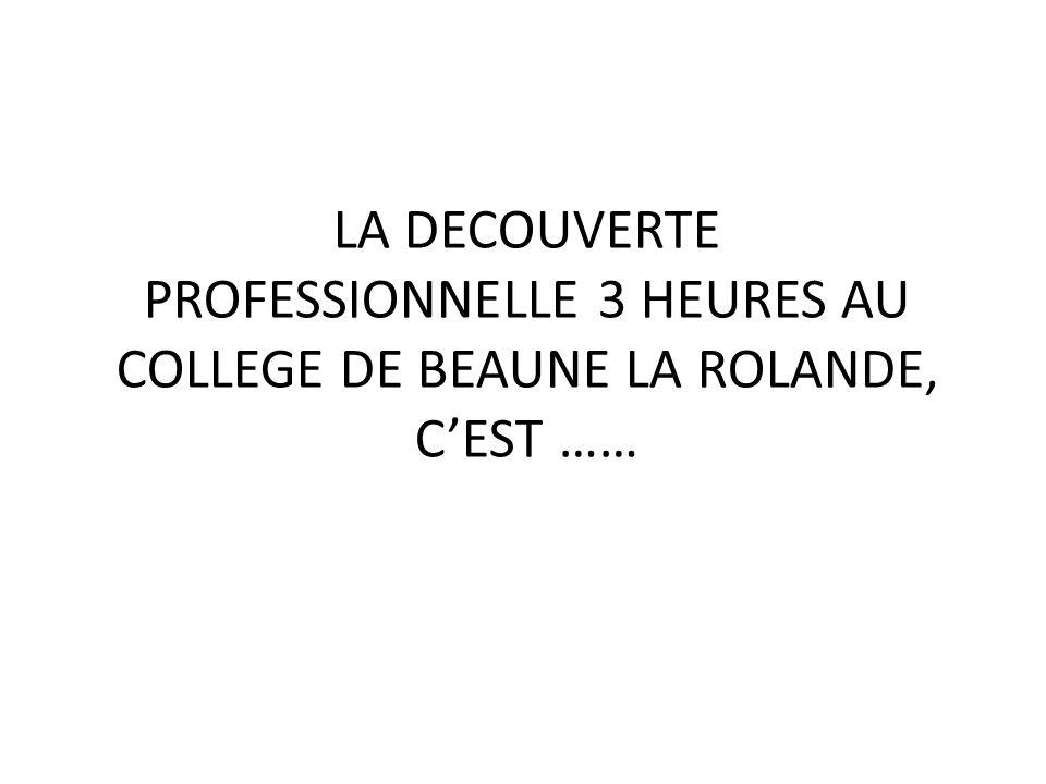 LA DECOUVERTE PROFESSIONNELLE 3 HEURES AU COLLEGE DE BEAUNE LA ROLANDE, C'EST ……
