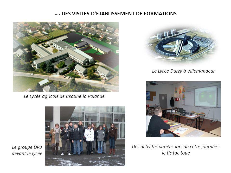 …. DES VISITES D'ETABLISSEMENT DE FORMATIONS Le Lycée Durzy à Villemandeur Des activités variées lors de cette journée : le tic tac toué Le groupe DP3