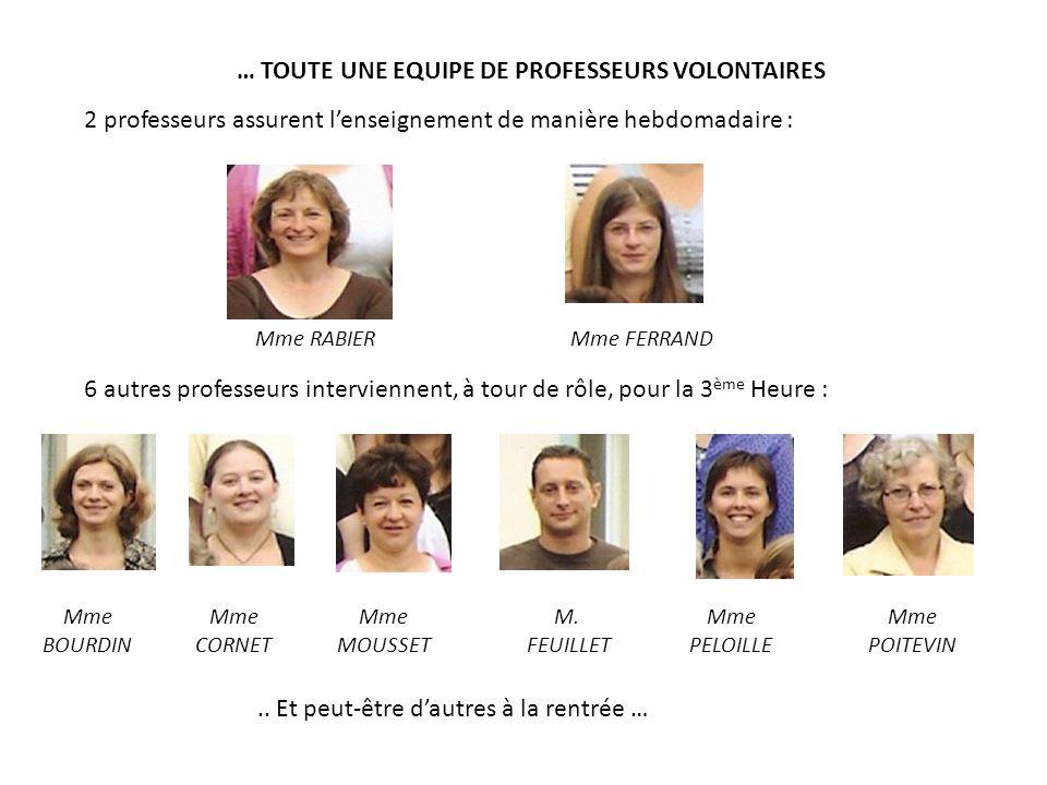 … TOUTE UNE EQUIPE DE PROFESSEURS VOLONTAIRES 2 professeurs assurent l'enseignement de manière hebdomadaire : Mme RABIERMme FERRAND 6 autres professeu